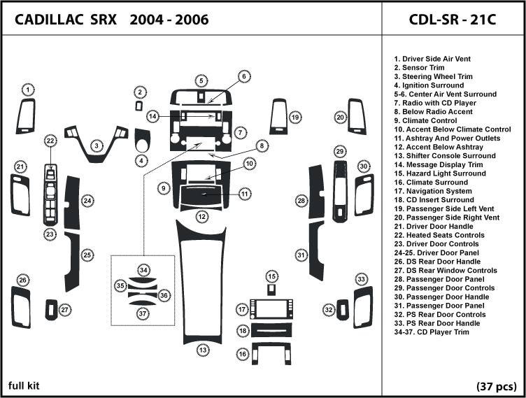 Cadillac SRX 04 06 2004 2005 2006 Wood Dash Trim Kit Tuning Dashboard Kit