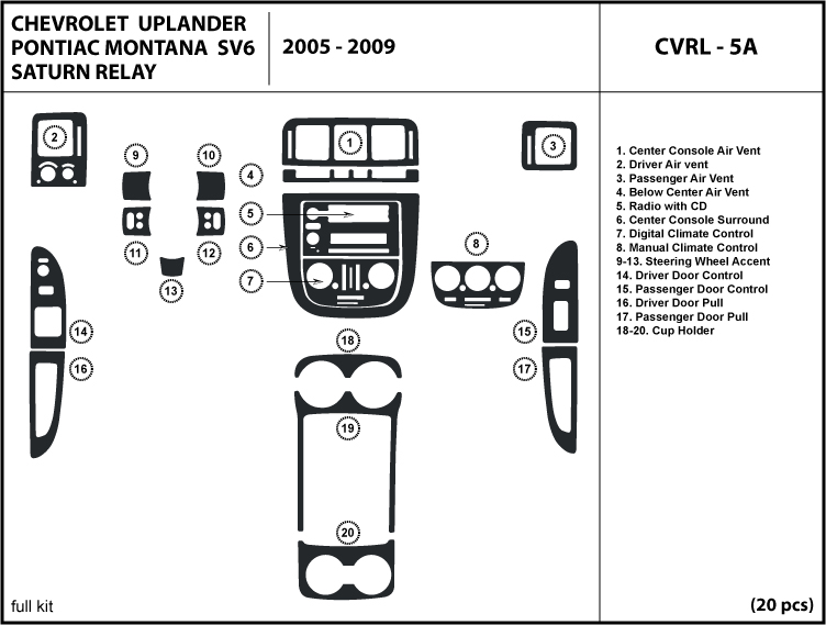 2005 2006 2007 2008 2009 chevrolet uplander wood dash kit. Black Bedroom Furniture Sets. Home Design Ideas