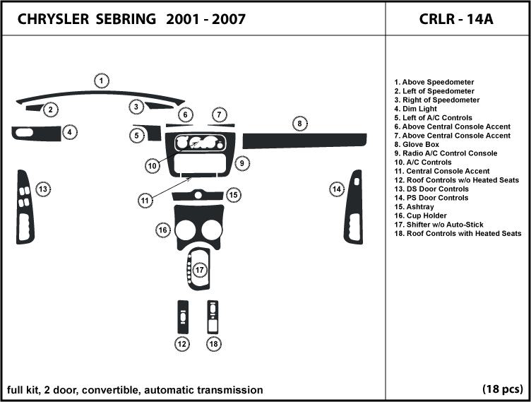 Chrysler Sebring 01 06 Wood Dash Kit Trim Dashboard
