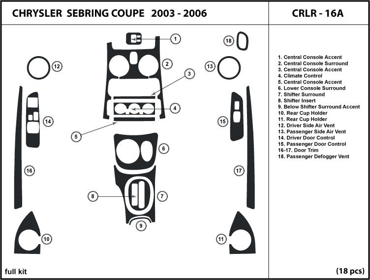 fits chrysler sebring coupe 03 06 2003 2004 2005 2006 dash. Black Bedroom Furniture Sets. Home Design Ideas