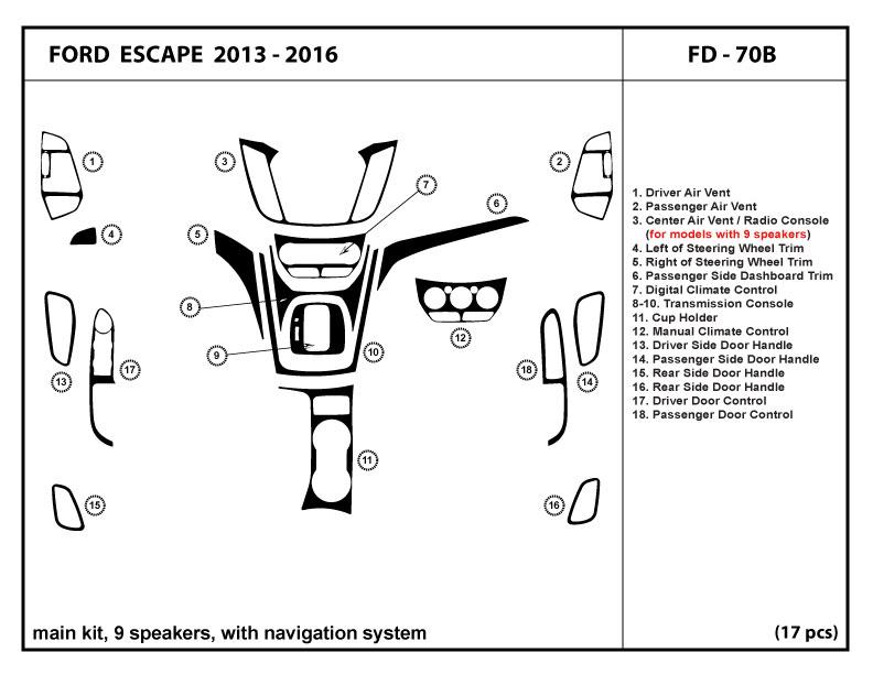 Dash Kit Trim For Ford Escape 2013