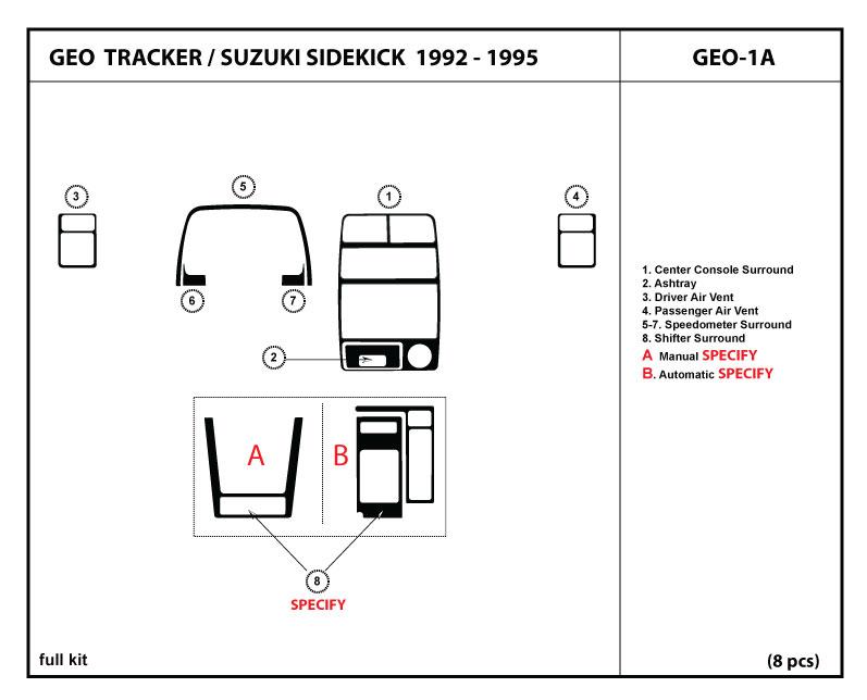 Dash Kit Trim For Geo Tracker    Suzuki Sidekick 92