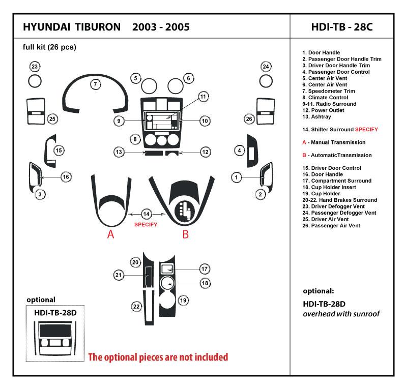 Dash Kit Trim For Tiburon 03