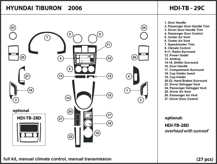 Dash Kit Tuning Trim For Tiburon 06 2006 Manual A  C