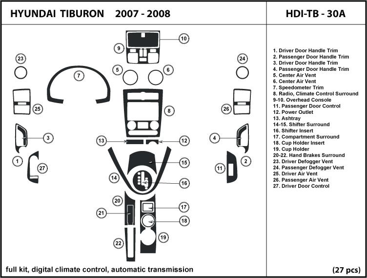 Dash Kit Trim For Hyundai Tiburon 07 C