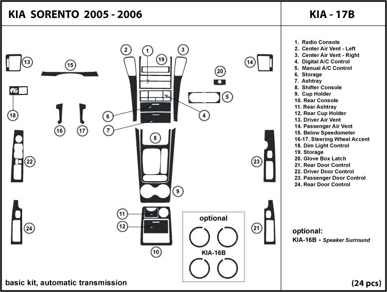 wood dash kit trim for kia sorento 05 06 2005 2006 w. Black Bedroom Furniture Sets. Home Design Ideas