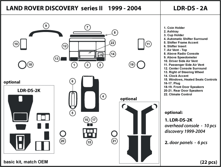 Land Rover Discovery II 99 04 1999 2000 2001 2002 2003 2004 Wood Dash Trim Kit