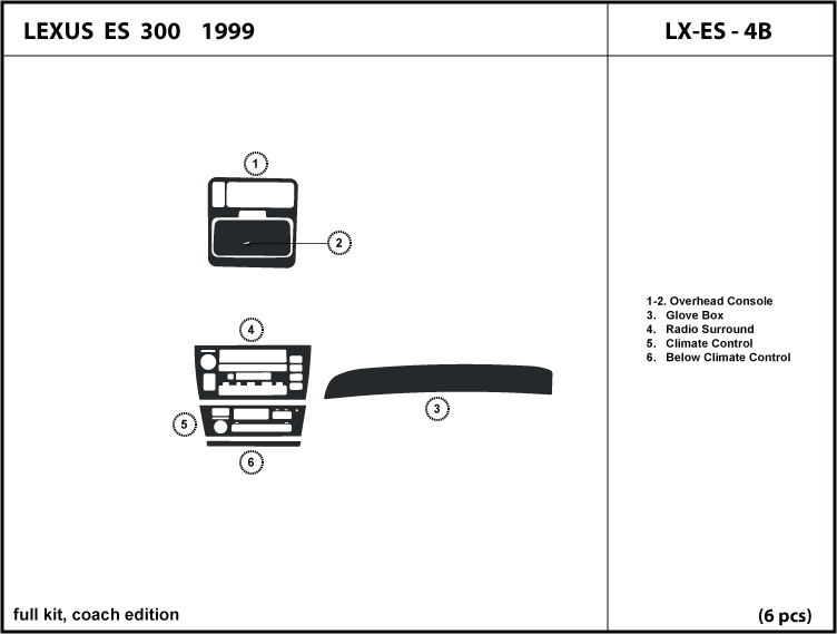 dash kit trim for lexus es 300 99 1999 coach edition. Black Bedroom Furniture Sets. Home Design Ideas