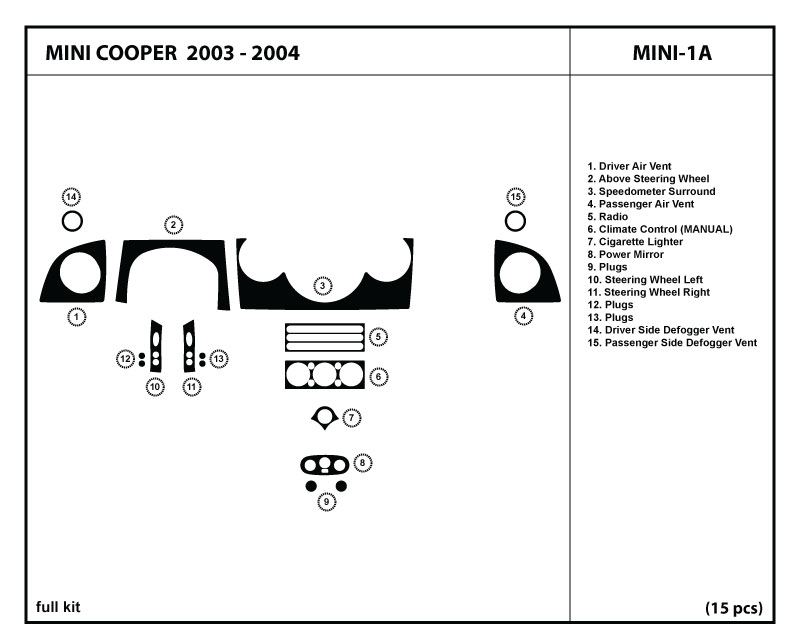 dash kit trim for mini cooper 2003 2004 03 04 wood carbon interior dashboard ebay. Black Bedroom Furniture Sets. Home Design Ideas