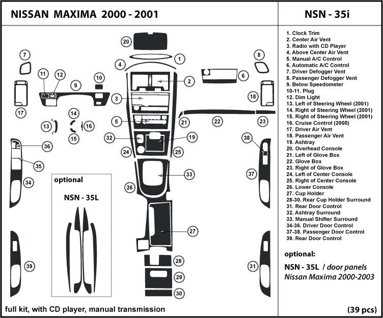 dash kit trim for maxima 2000 2001 interior tuning cover. Black Bedroom Furniture Sets. Home Design Ideas
