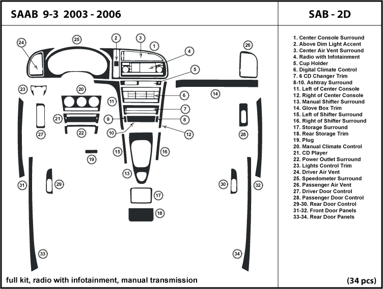 Saab 9-3 2003-2006 radio w/ infotainment manual ...
