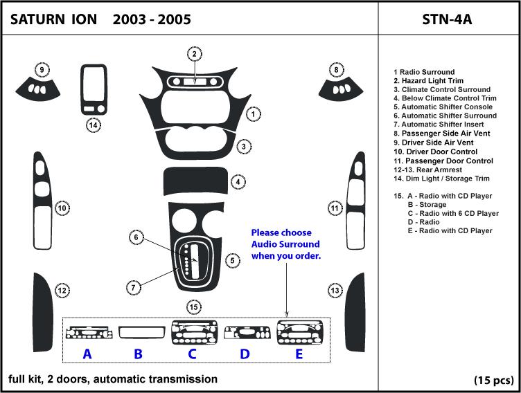 Saturn Ion 2 Door Auto Shifter 03 04 05 Dash Kit Trim Wood