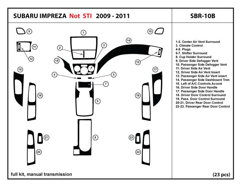 dash trim kit cover for subaru impreza wrx 2009 2011 with. Black Bedroom Furniture Sets. Home Design Ideas