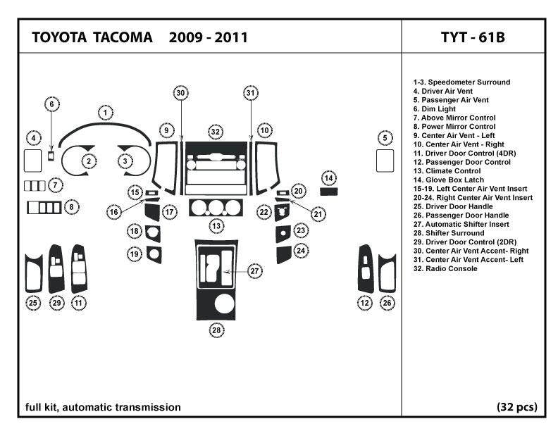 Toyota Tacoma 09 4 Doors Dash Kit Trim Tyt