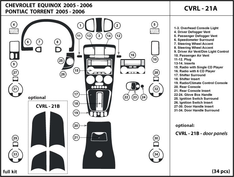Chevrolet Equinox 05 06 Dash Kit Trim Tuning Dashboard Wood Chrome Carbon