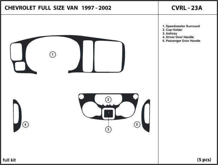 Chevrolet Full Size Van 97 02 Wood Dash Kit Trim Parts