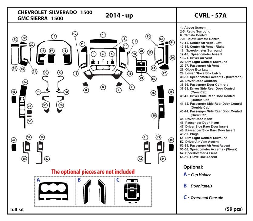Dash Kit Trim    Set    for    Chevrolet    Silverado 1500  GMC Sierra 1500 20142018   eBay