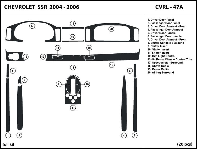 Dash Trim Kit Set For Chevrolet Ssr 03