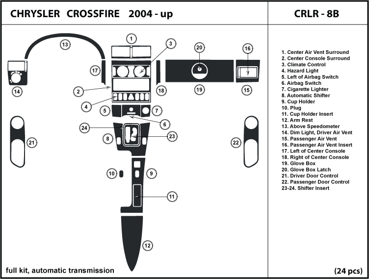 04 08 Chrysler Crossfire with Automatic Transmission Dash Kit Trim Wood Chrome