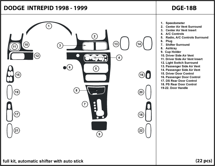 Dash Kit Trim Dodge Intrepid 98