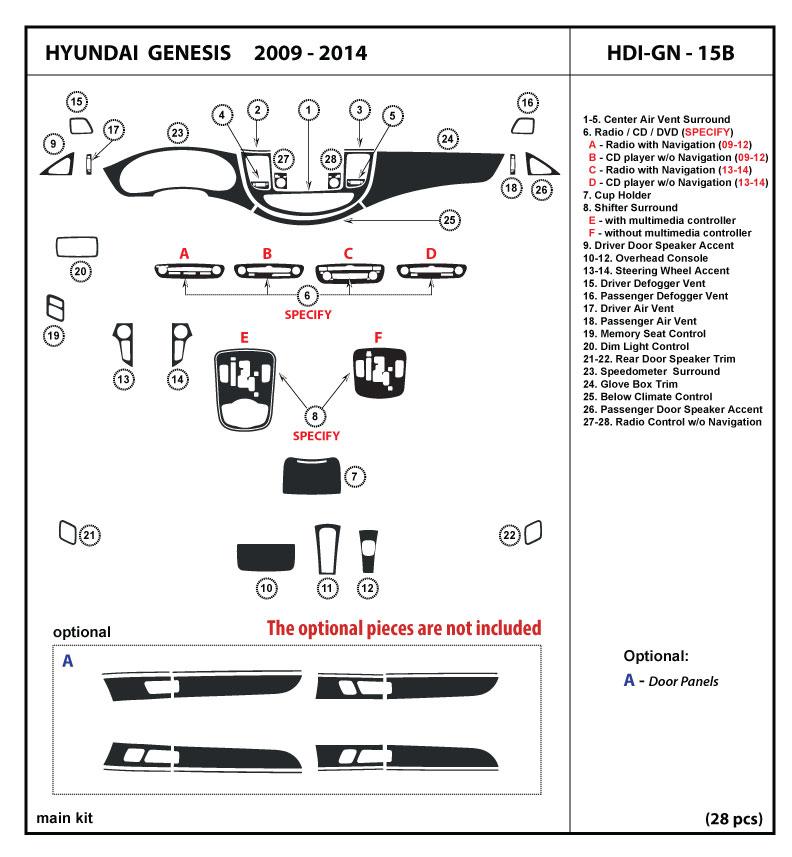 innova3.com Wood Dash Kit Trim Set for Hyundai Genesis 2009-2014 4 ...