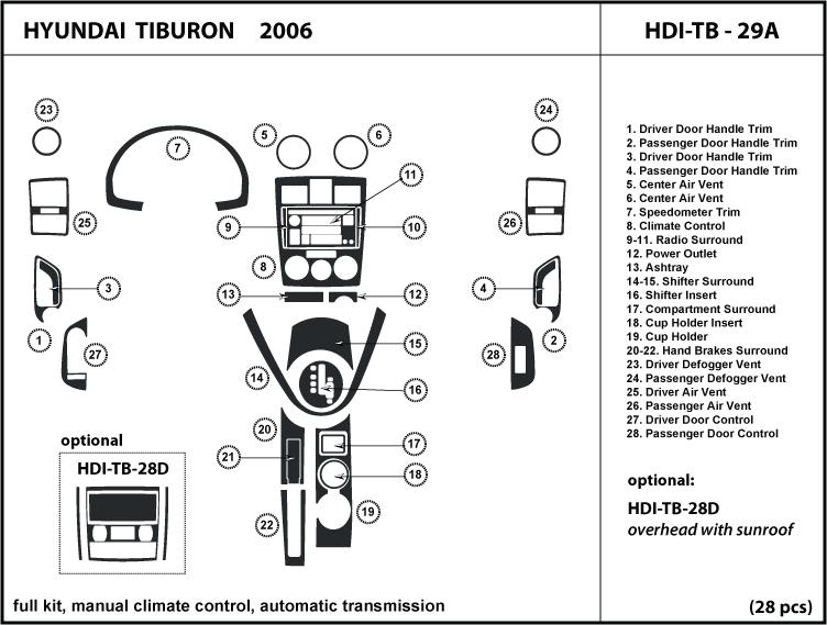 Dash Kit Trim For Tiburon 06 2006 Manual A  C Control