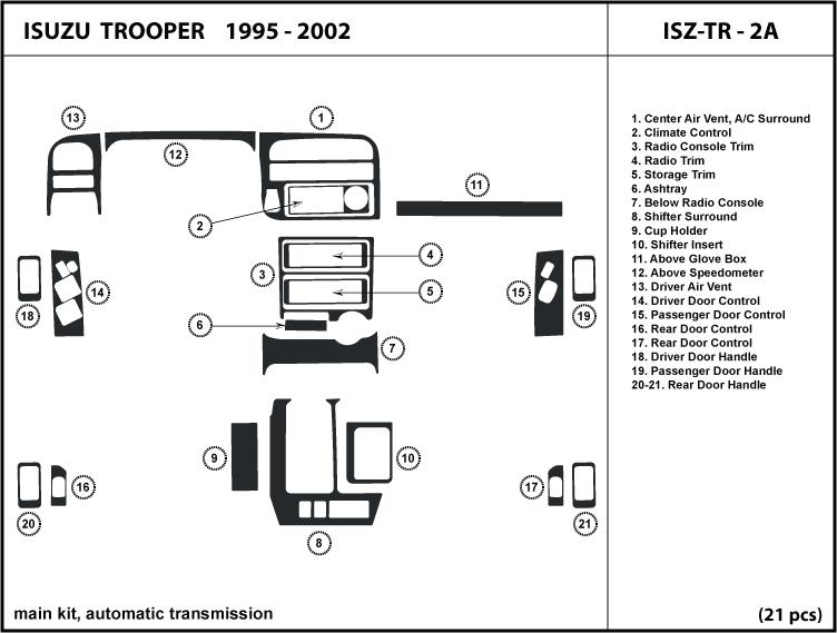 Isuzu Trooper 95 02 Automatic Transmission Dash Kit Trim Interior Dashboard