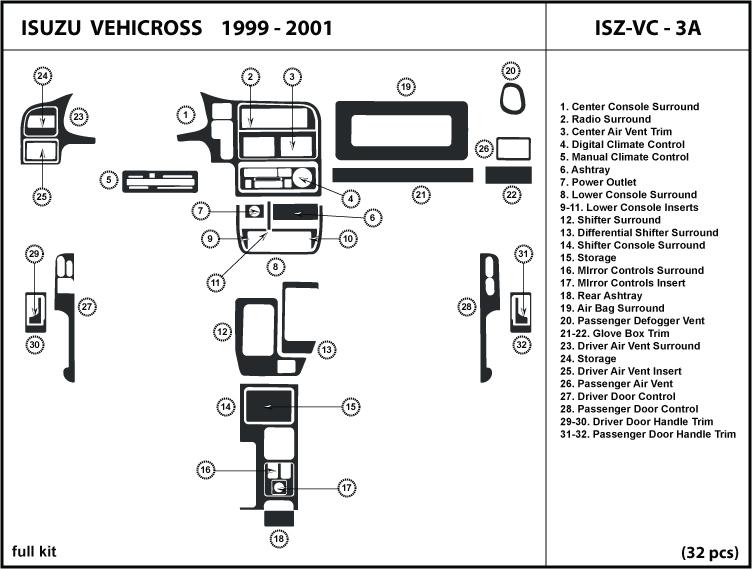 Isuzu Vehicross 99 01 1999 2000 2001 Dash Kit Trim Wood Interior