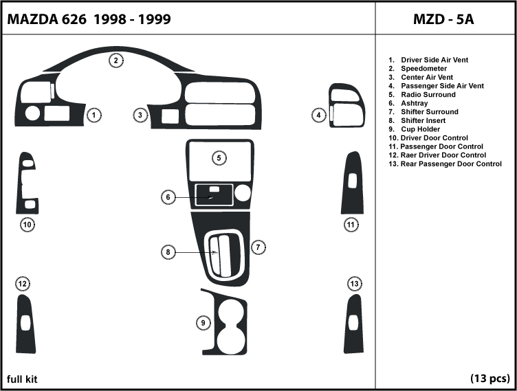 NEW  MAZDA 626 WOOD DASH TRIM KIT