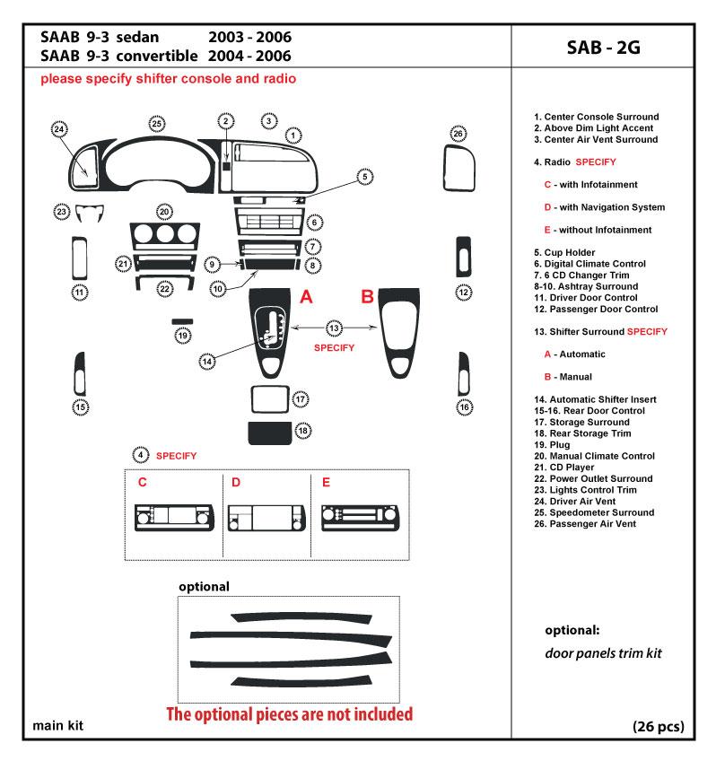 03 06 Saab 9 3 Radio with Infotainment Automatic Shifter Dash Kit Trim SAB 2G