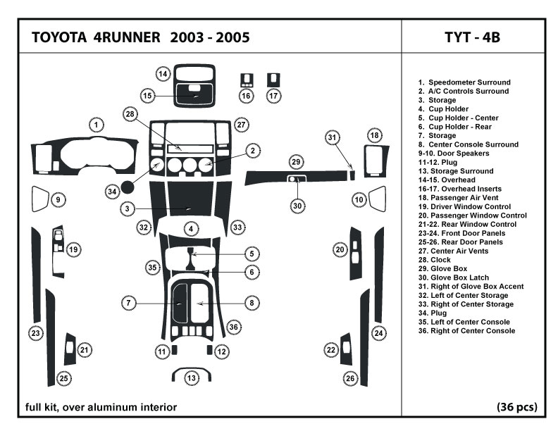 Toyota 4Runner 03 05 Wood Dash Kit Trim Dashboard