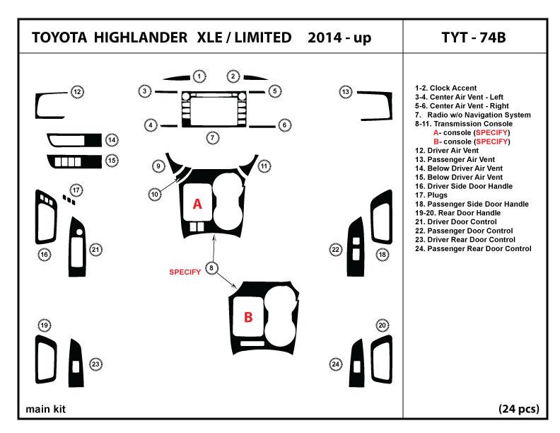 dash trim kit for toyota highlander xle limited 2014 2018 trim cover interior ebay. Black Bedroom Furniture Sets. Home Design Ideas